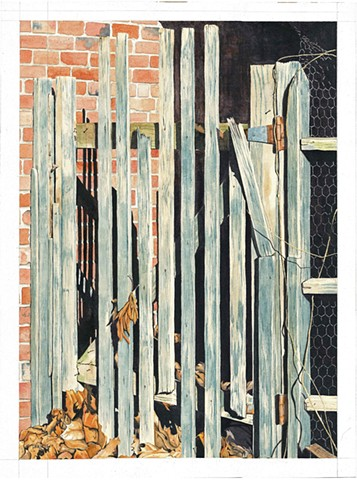 Autumn watercolor, Autumn leaves, gate, broken fence, watercolor of broken fence, autumn wall art, city alleyway