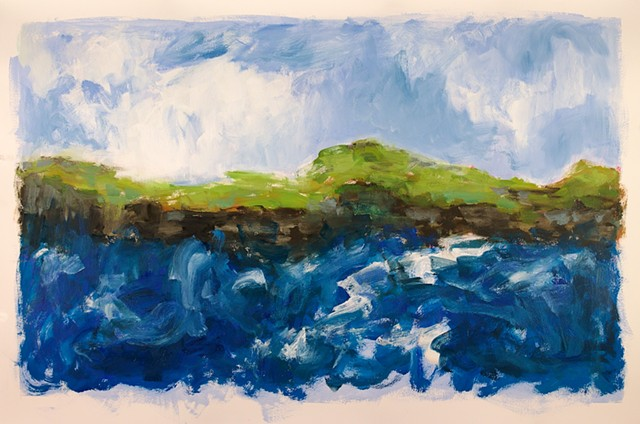 Landscape abstraction,  seascape oil painting
