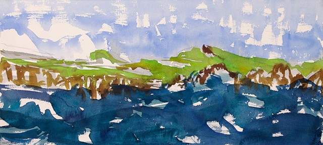 Seascape watercolor landscape