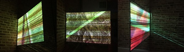 Still from Animation and Video projected on welded steel frame and naturally dyed warp screen.