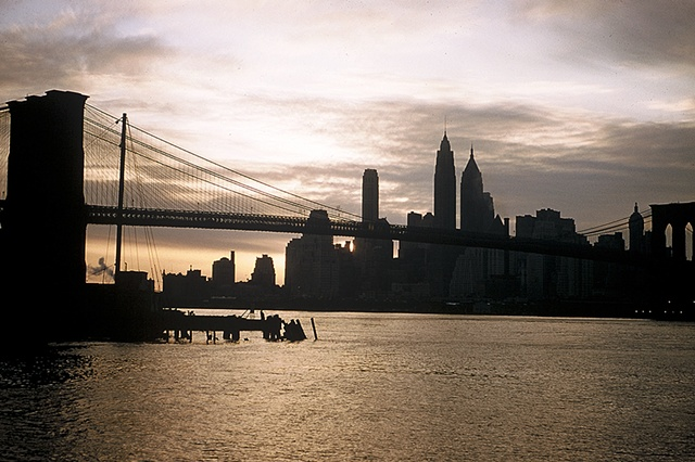 Manhattan and Brooklyn Bridge at Dusk