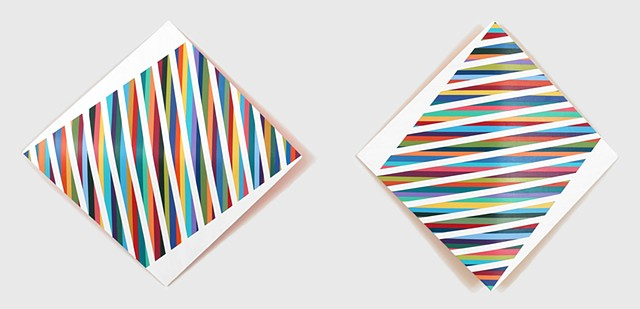 Two abstract sculptural paintings with colorful stripe motif