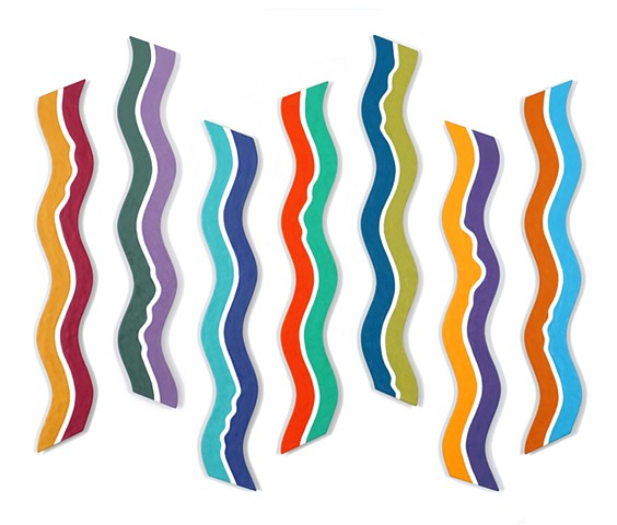Abstract colorful wall sculpture in wavy segments