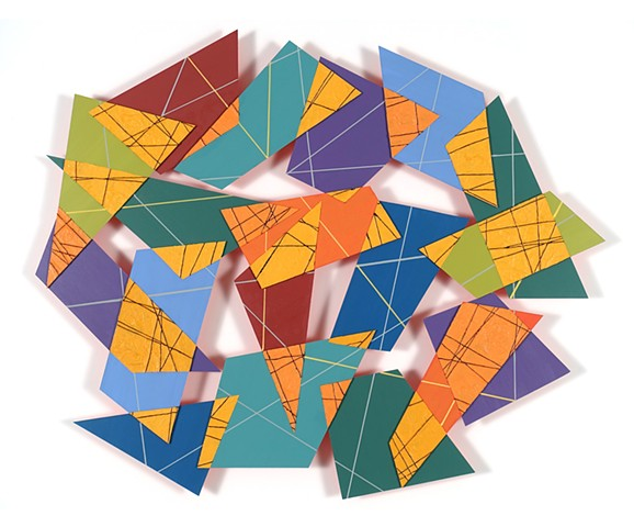 Colorful abstract construction with patterns and irregular shapes