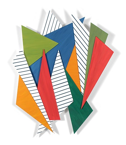 Abstract 2-d wall sculpture constructed of colorful angular shapes