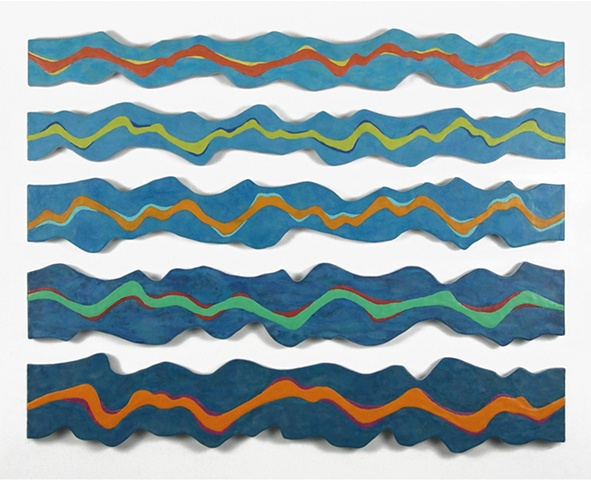 Abstract encaustic sculptural painting of waves on Lake Michigan by Shelley Gilchrist