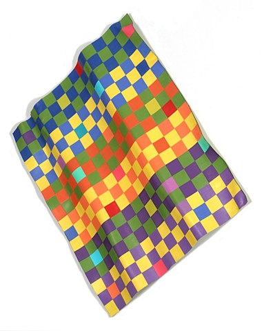 Abstract painted sculpture with colorful checked pattern