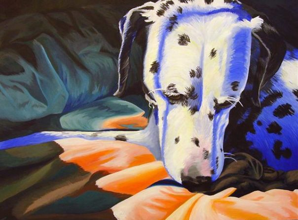 This is a portrait of my Dalmatian Leah. It focuses on color intensity where it is unexpected, within realism.