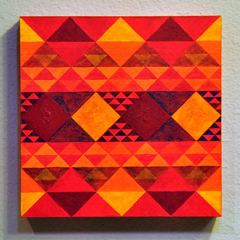 pattern painting in red and gold