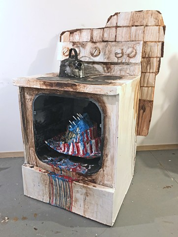 Stove with 4th of July Cake and Teapot (The Covid Diaries Series)