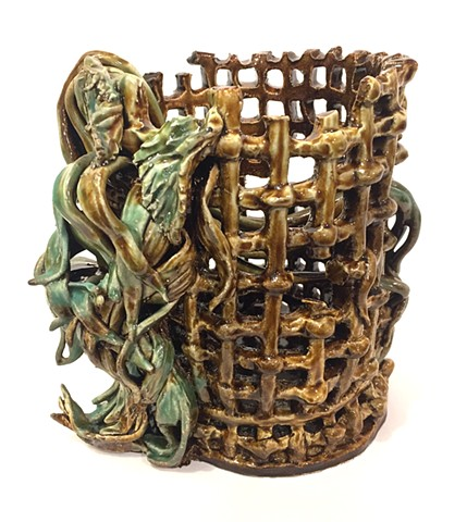 Dead Flowers with Woven Basket