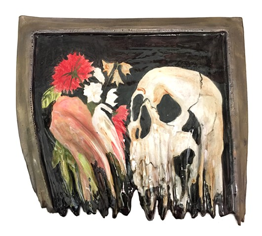 Melted Still Life, Flowers with Skull