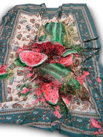Exploded Watermelon on Picnic Blanket