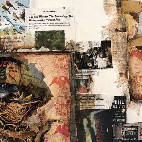 Studio Wall Fragment with Stain and Bird's Nest (The Covid Diaries Series) Detail