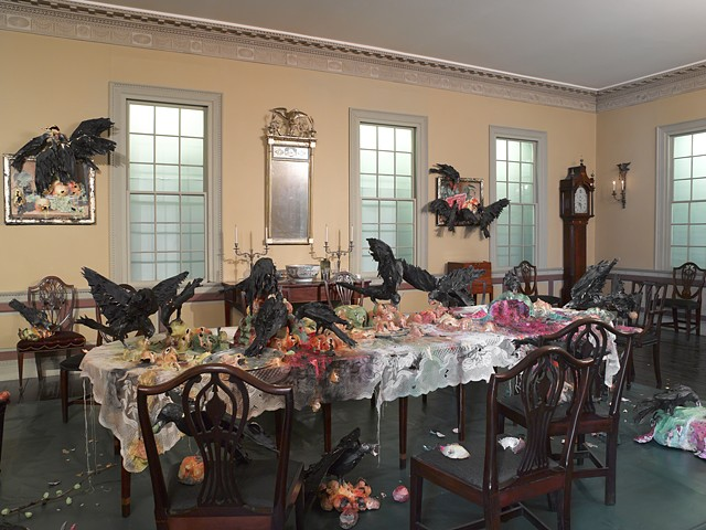Alternative Histories The Brooklyn Museum The Canes Acres Plantation Dining Room  Still Life with Peaches, Pear, Grapes and Crows Still Life with Watermelon, Peaches and Crows Table Cloth with Fruit and Crows