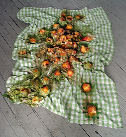 Exploded Peaches on Picnic Blanket