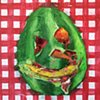 Watermelon Head with Banana Smile on Picnic Blanket