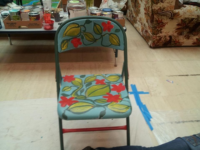 Painted chair created as part of a local arts organzaton project