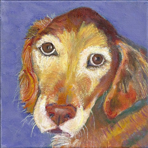 Custom acrylic painting of a golden retriever