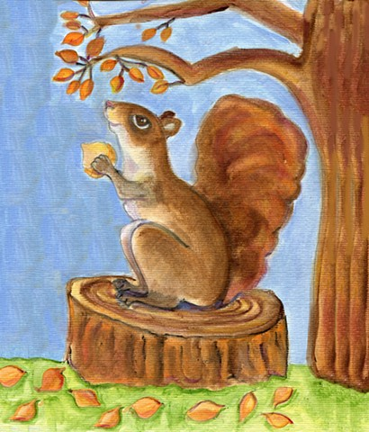 whimsical squirrel painting for sale