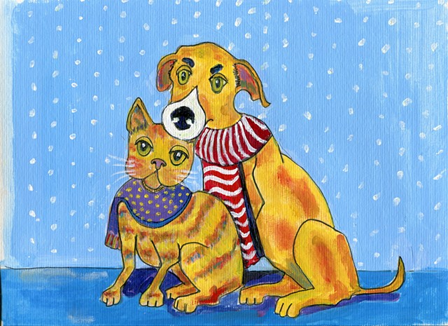Cat and dog wintertime painting