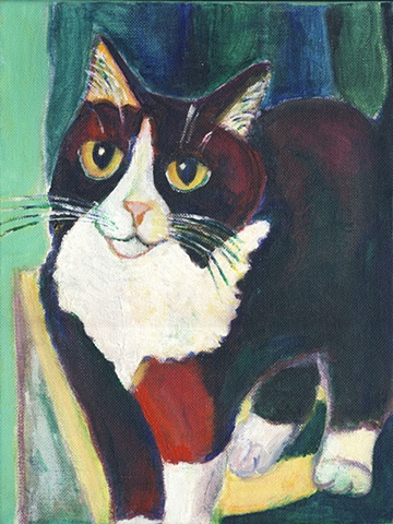 Black and white tuxedo cat painting