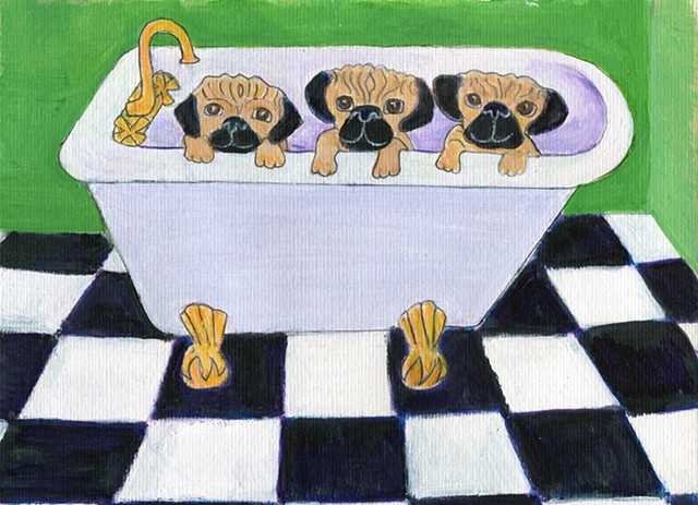 Painting of three pugs in a tub for sale
