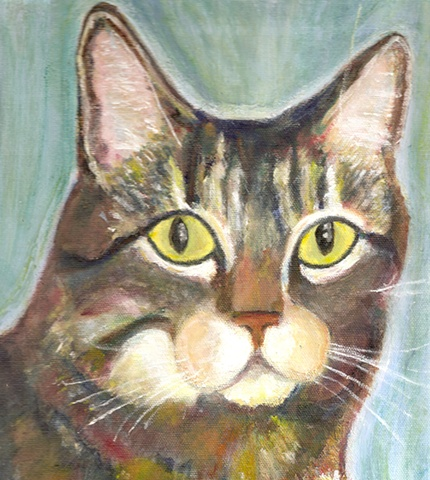 brown tabby cat painting