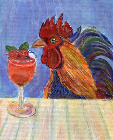 A rooster next to a cocktail