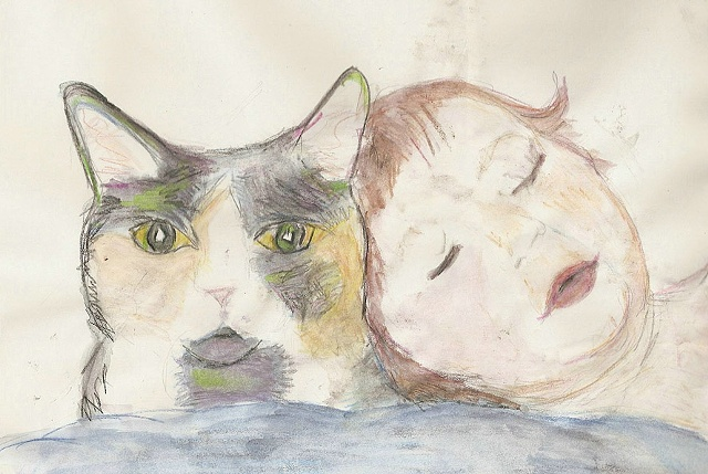 Watercolor pencil on paper of sleeping baby and cat.