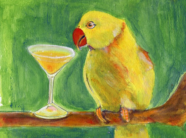 Painting of a yellow painting next to a cocktail