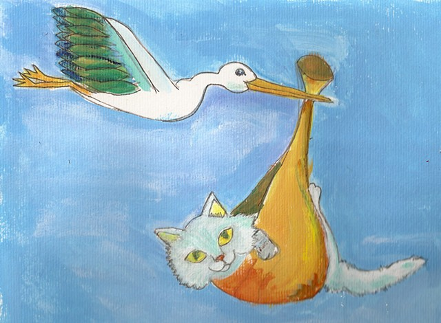 painting of a stork carrying a kitten for sale