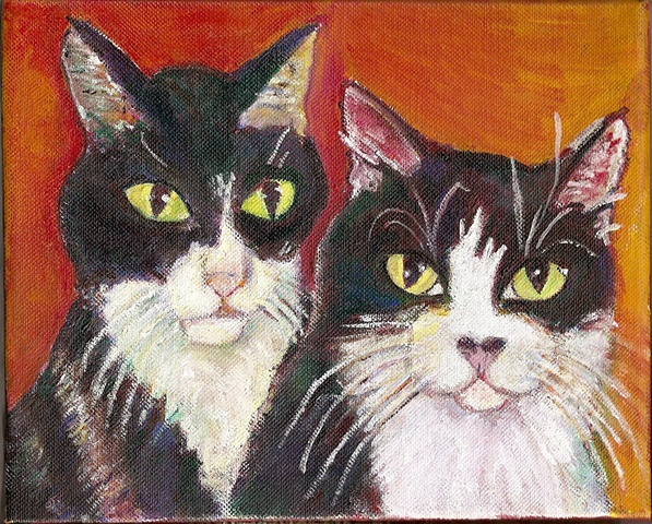 Painting of two tuxedo cats