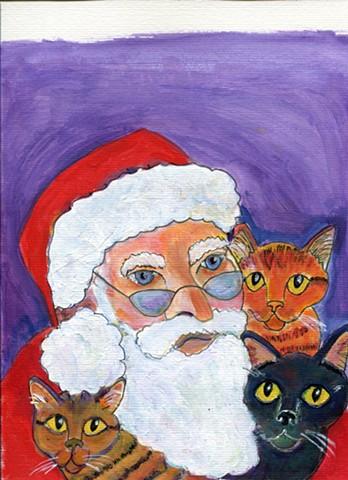 Santa and three cats painting