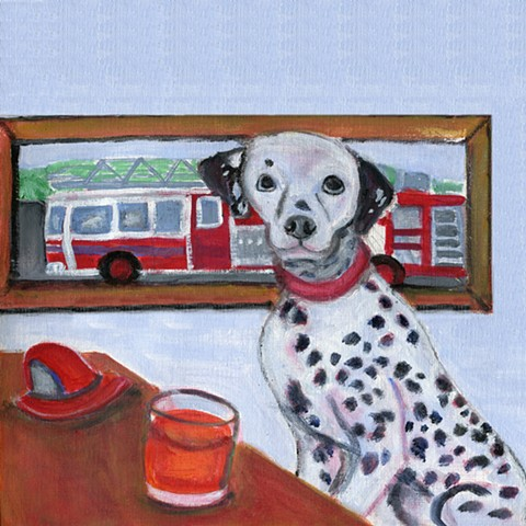 Dalmation painting showing dalmation, fire truck, and fireball cocktail