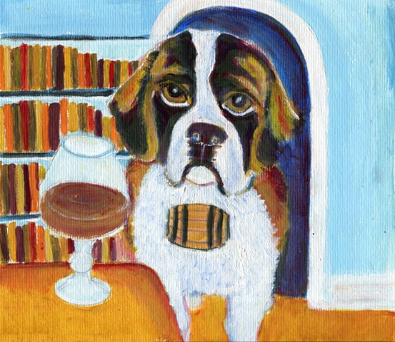 St. Bernard and a brandy sniffer