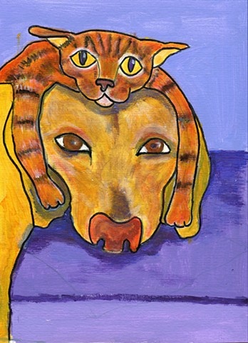 Painting of a cat acting as a hat lying on a dog's head