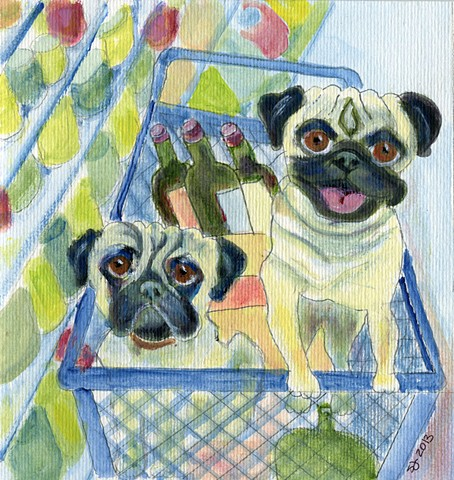 Pugs in a shopping cart with wine