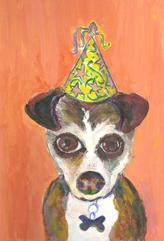 Painting of a birthday dog for sale