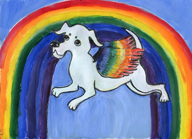 Painting of a dog angel flying over a rainbow