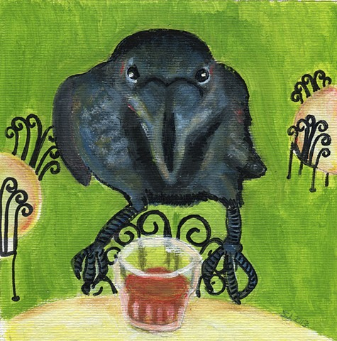 Crow with whiskey
