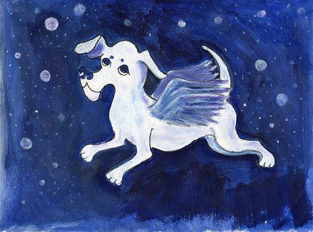 Painting of a dog angel in the night sky for sale
