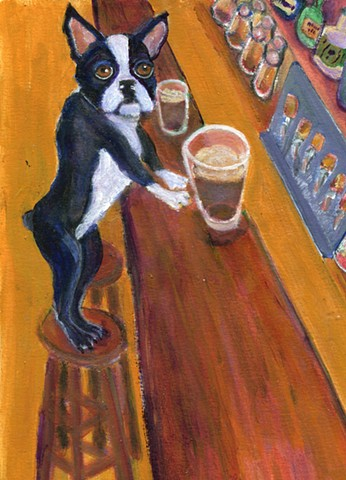 A Boston Terrier stands on a bar stool in a bar, A pint of dark beer stands near him.