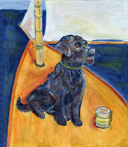 Portuguese Water Dog on a Sailboat with a Salty Dog cocktail