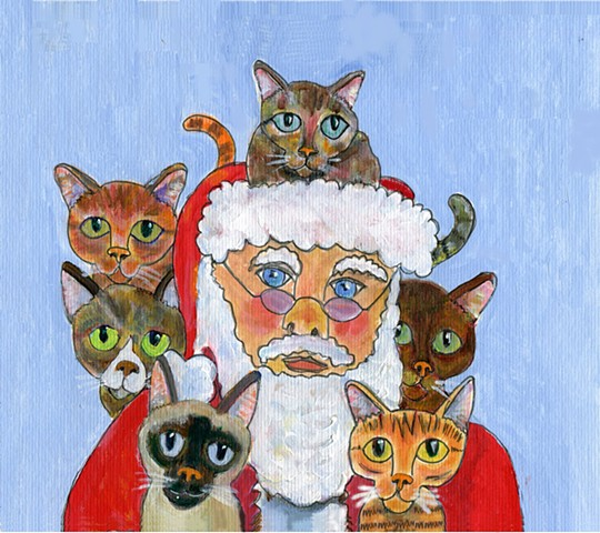 Painting of Santa and 6 cats