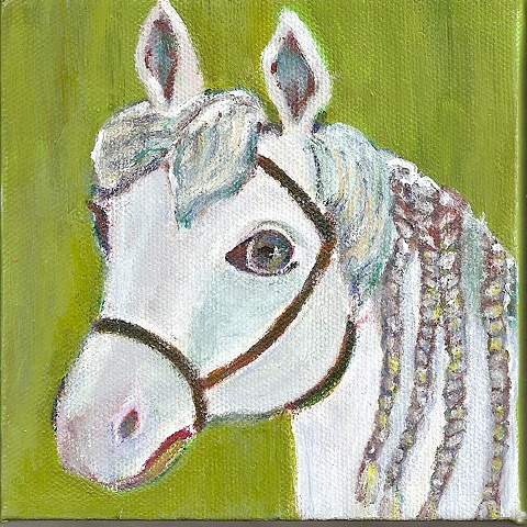 Whimsical portrait of Drum the horse