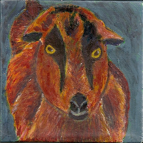 A whimsical custom pet portrait of Keegan the goat