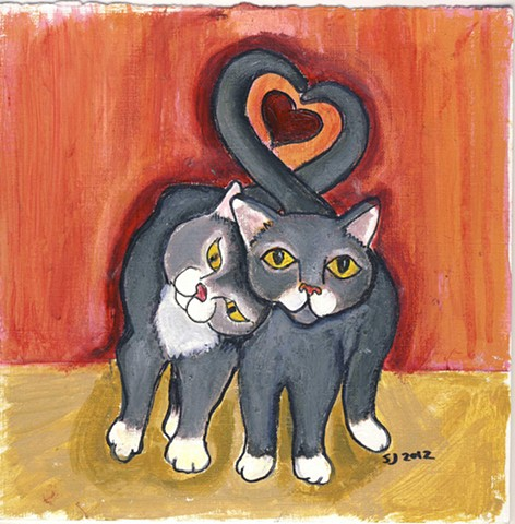Sweet painting of two gray cats with entwined tails for sale