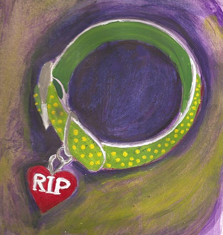 Painting of a dog collar with RIP tag