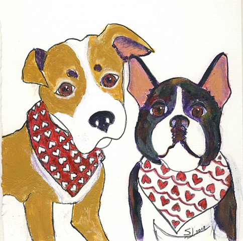 Painting of two dogs wearing bandanas for sale